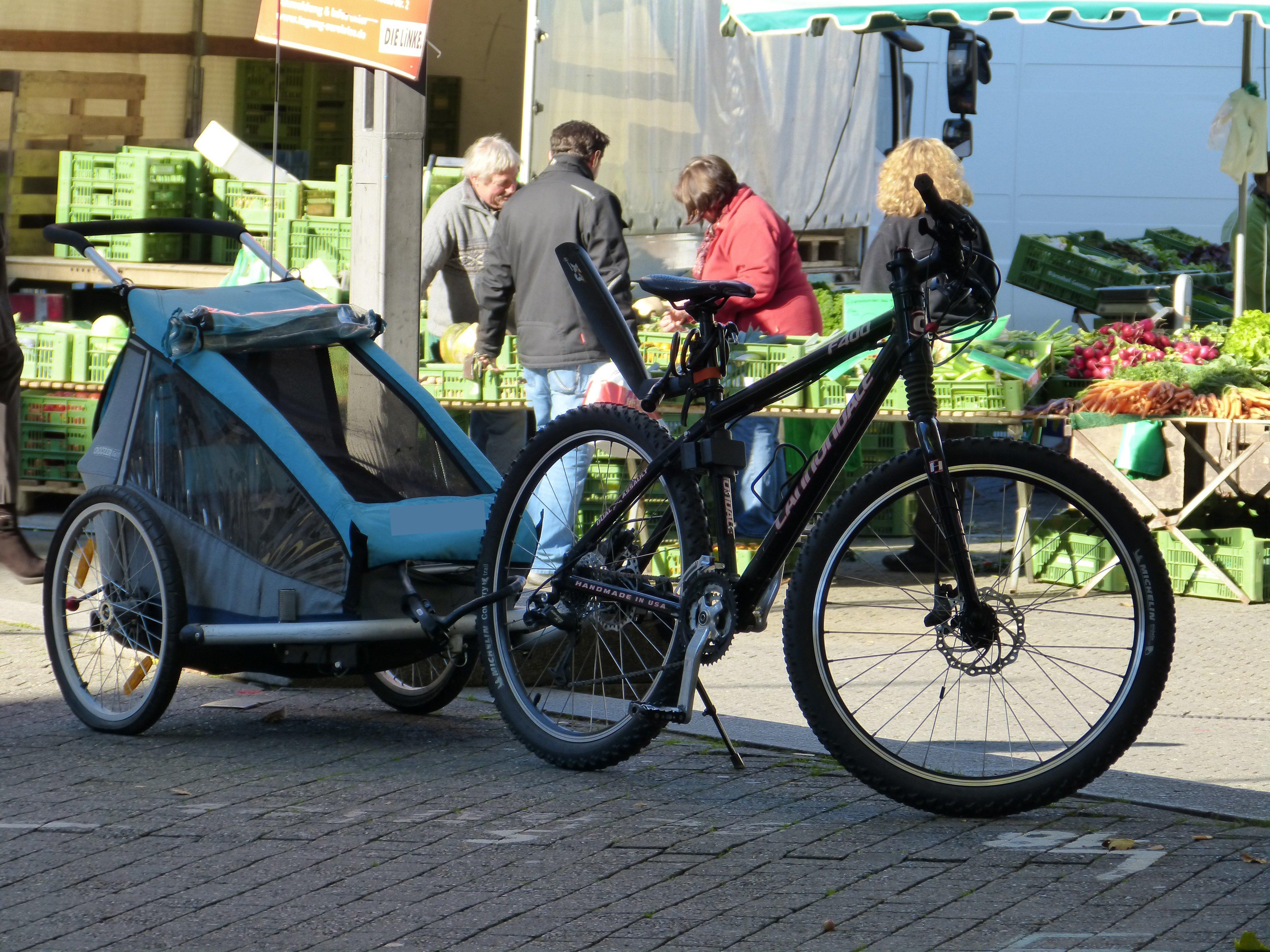 Uporaba otroške kolesarske prikolice